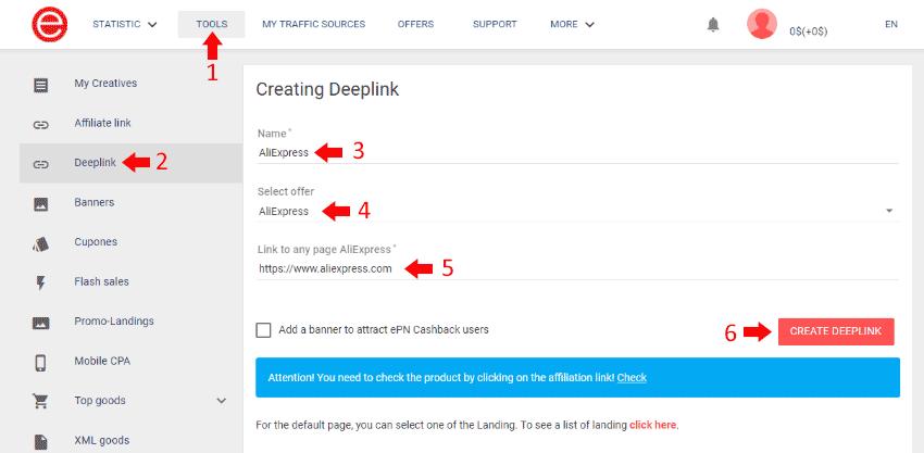 AliExpress ePN - Deeplink Generation