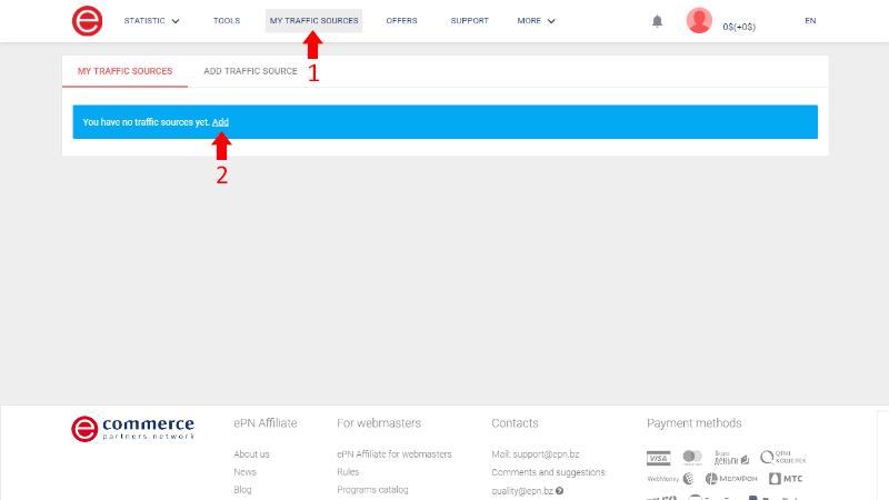 AliExpress ePN Traffic Sources Page
