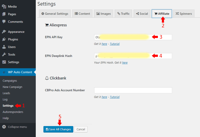 AliExpress ePN - WP Money Machine Settings