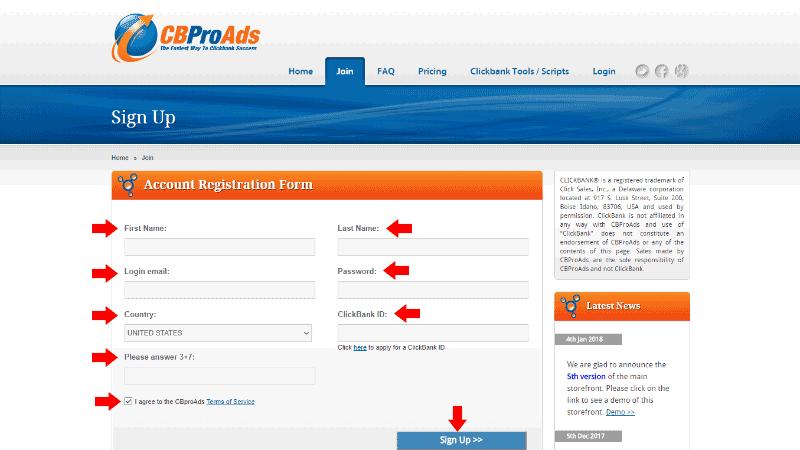 CBPro Ads - Registration Page