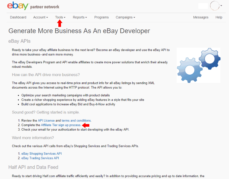 eBay Partner Network - API Homepage