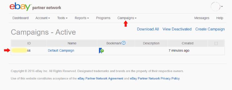 eBay Partner Network - Campaigns