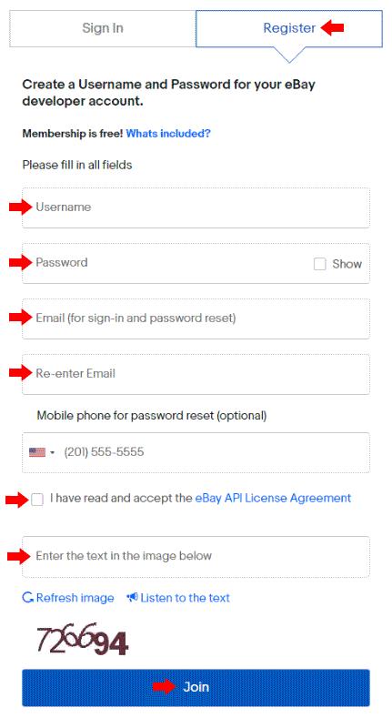 eBay Developer Registration Form