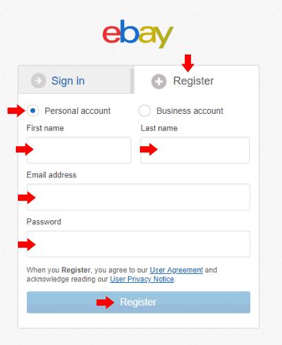 eBay - Registration Form
