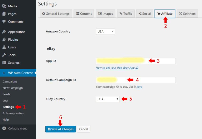 eBay - WP Money Machine Settings