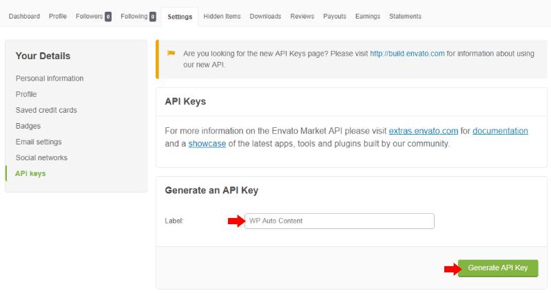 Envato - Themeforest - Generate API Key