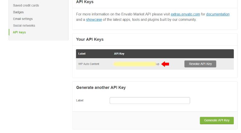 Envato API Key