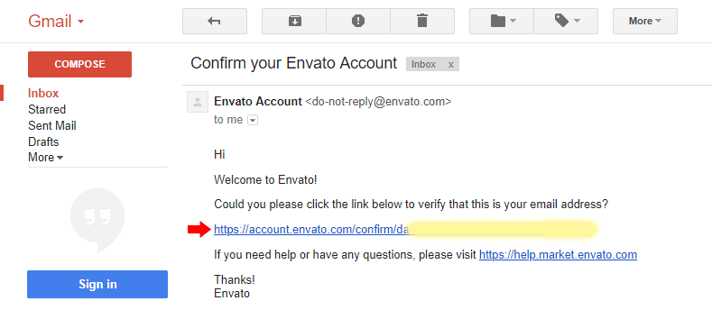 Envato Email Confirmation